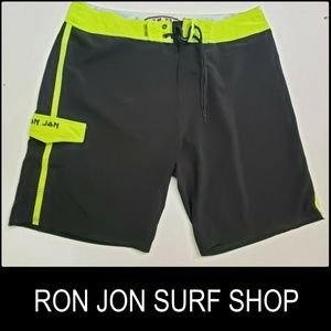 Ron Jon Surf Shop Men Swim Wear Black Short Sz 36